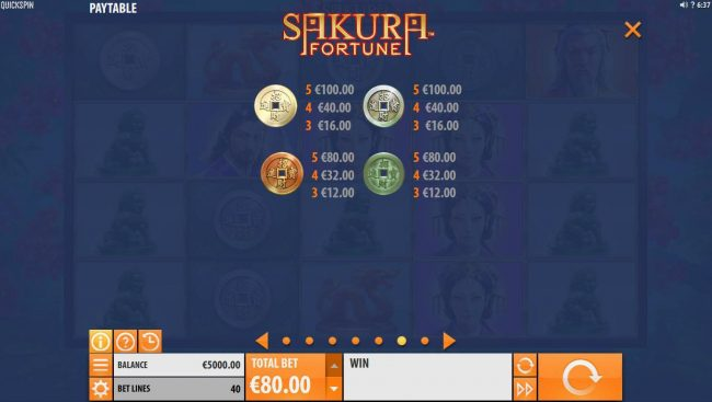 Norskespill featuring the Video Slots Sakura Fortune with a maximum payout of $86,960