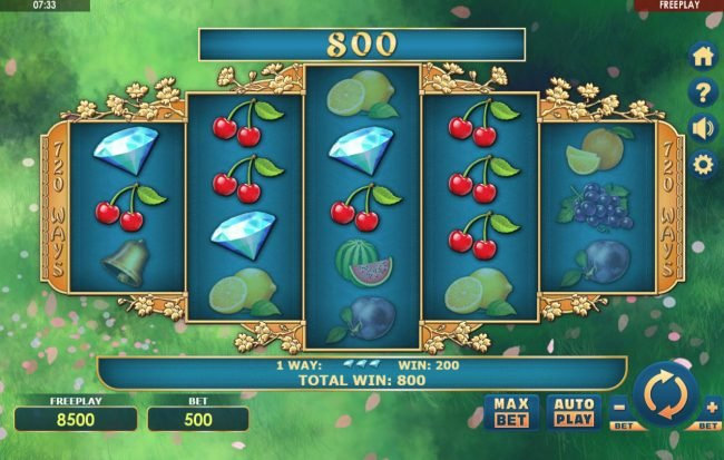 CryptoWild featuring the Video Slots Sakura Fruits with a maximum payout of $108,000