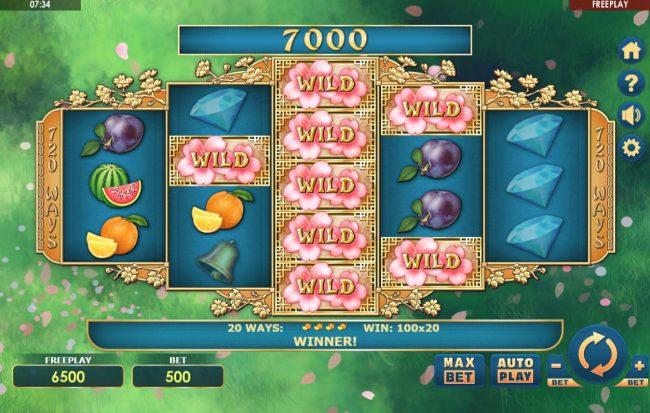 Sakura Fruits :: stacked wild triggeres multiple winning combinations