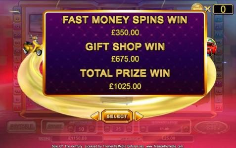 bonus feature pays out a 1025 coin big win