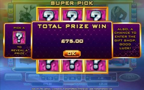 Super Pick Feature awards a $75 payout