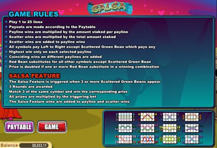 Liberty Slots featuring the Video Slots Salsa with a maximum payout of $50,000