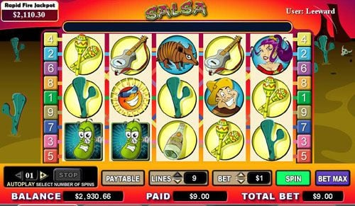 Zinger Spins featuring the video-Slots Salsa with a maximum payout of 10,000x