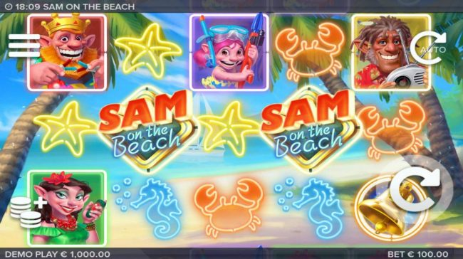Sam on the Beach :: A tropical beach vacation themed main game board featuring five reels and 243 winning combinations with a $227,520 max payout