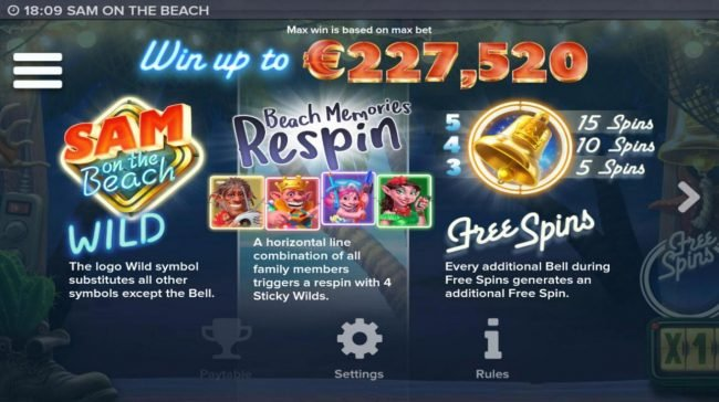Sam on the Beach :: Win up to 227,520! Wild symbol, Scatter symbol and Beach Memories Respin Rules.