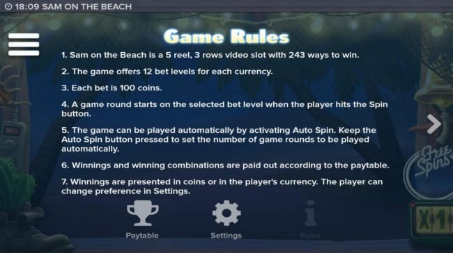 Diamond 7 featuring the Video Slots Sam on the Beach with a maximum payout of $227,520