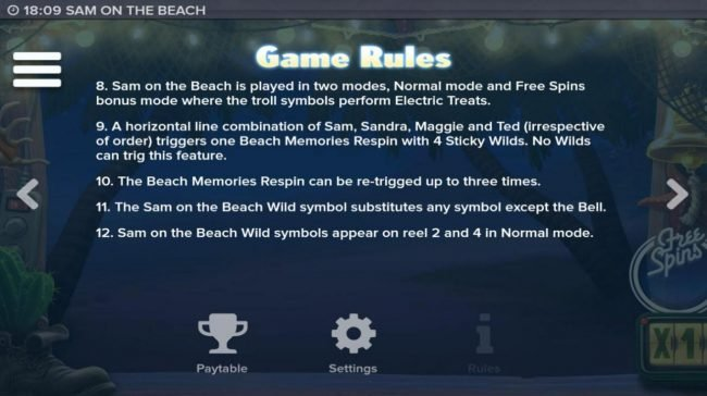 Sam on the Beach :: General Game Rules - continued