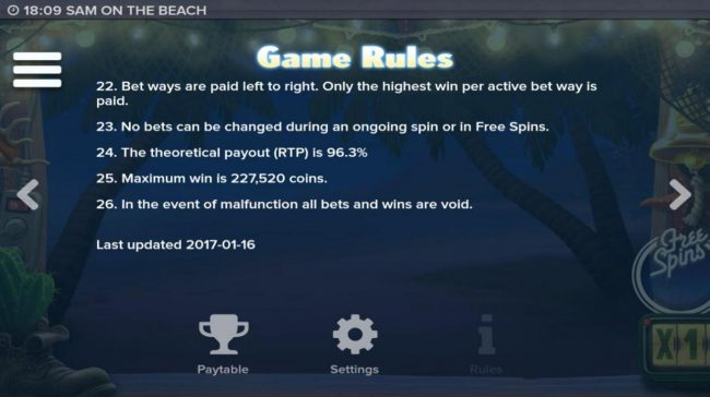Lightbet featuring the Video Slots Sam on the Beach with a maximum payout of $227,520
