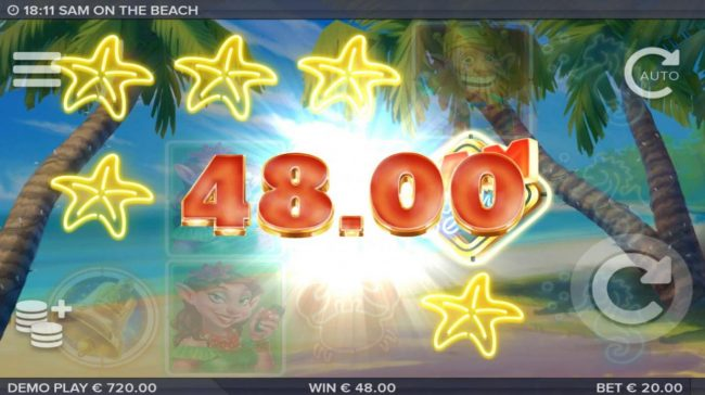 Sam on the Beach :: A winning combination of neon starfish symbols triggers a 48.00 payout.
