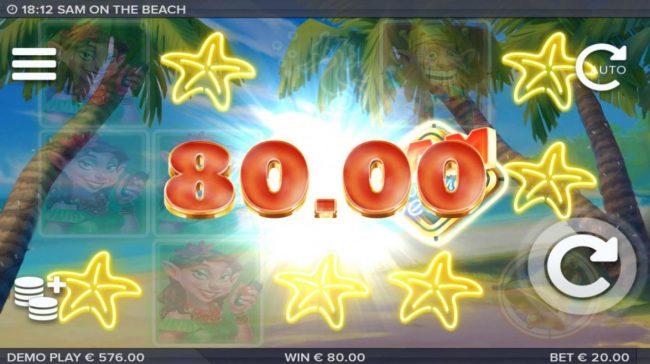 Sam on the Beach :: Multiple winning combinations triggers an 80.00 jackpot