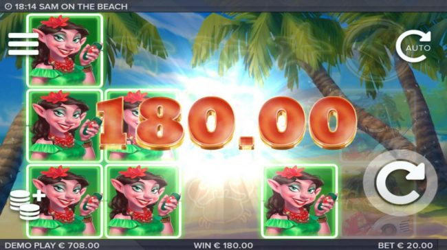 Sam on the Beach :: A 180.00 big win triggered by multiple winning combinations of Sandra.