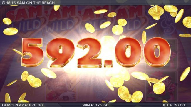 Sam on the Beach :: Beach Memories respin feature triggers a 592.00 big win.