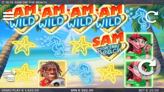 Sam on the Beach :: Extra wilds added during the respin feature triggers a big win.
