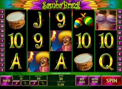 Casino Lucky Win featuring the Video Slots Samba Brazil with a maximum payout of $250,000