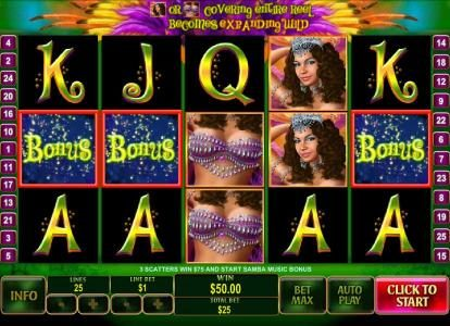 Vernons featuring the Video Slots Samba Brazil with a maximum payout of $250,000