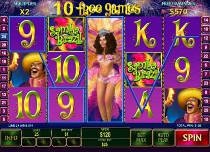 Omni featuring the Video Slots Samba Brazil with a maximum payout of $250,000