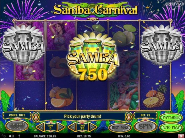 Neder featuring the Video Slots Samba Carnival with a maximum payout of $3,125