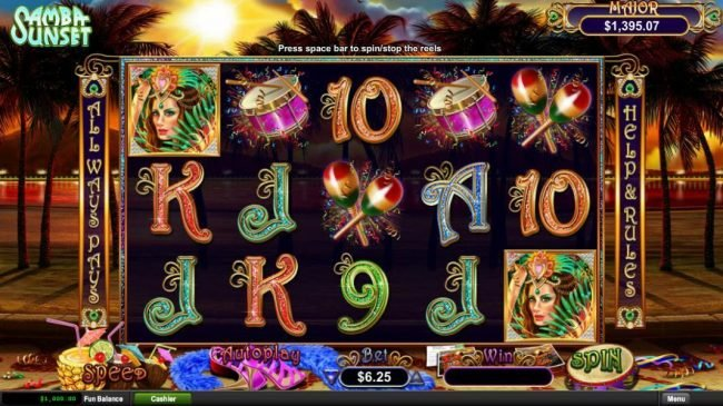 Ruby Slots featuring the Video Slots Samba Sunset with a maximum payout of Jackpot