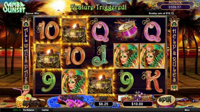 Play slots at Casino Brango: Casino Brango featuring the Video Slots Samba Sunset with a maximum payout of Jackpot