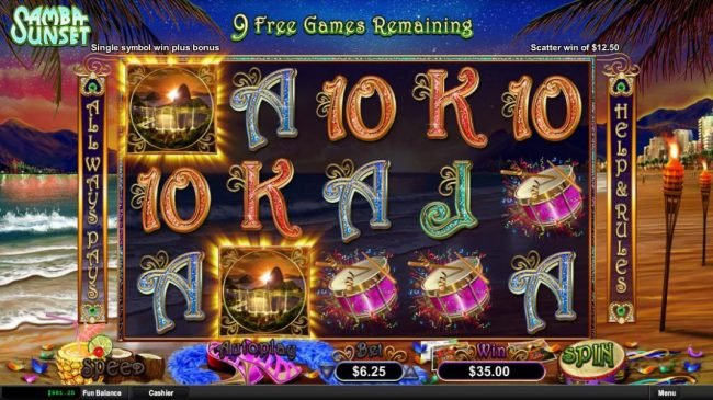 Casino Max featuring the Video Slots Samba Sunset with a maximum payout of Jackpot