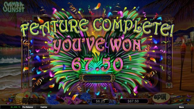 Samba Sunset :: Feature Completed - You won 67.50
