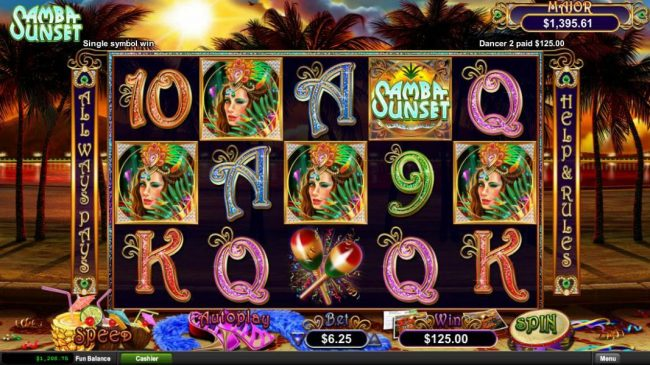 99 Slot Machines featuring the Video Slots Samba Sunset with a maximum payout of Jackpot
