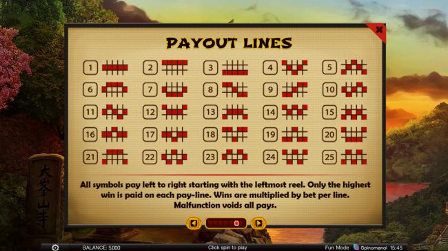 Samurai Path :: Paylines 1-25