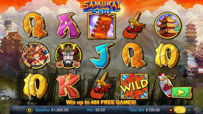 Euro King featuring the Video Slots Samurai Split with a maximum payout of $40,000