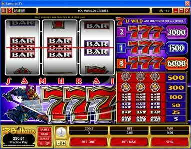 Play slots at Crazy vegas: Crazy vegas featuring the video-Slots Samurai 7's with a maximum payout of $30,000