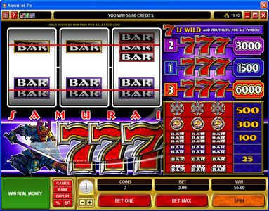 Bulldog777 featuring the video-Slots Samurai 7's with a maximum payout of $30,000