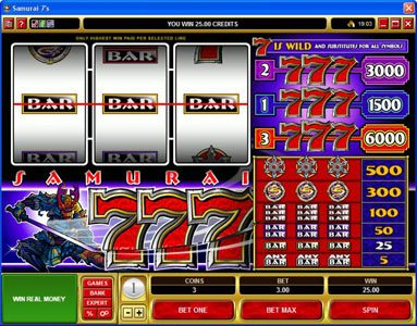 Quatro featuring the video-Slots Samurai 7's with a maximum payout of $30,000