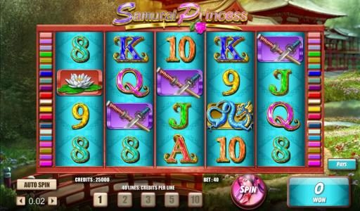 TS featuring the Video Slots Samurai Princess with a maximum payout of $50,000
