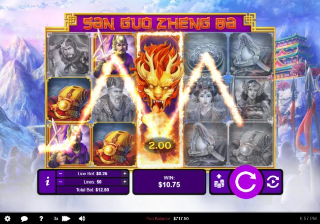 Grande Vegas featuring the Video Slots San Guo Zheng Ba with a maximum payout of $50,000