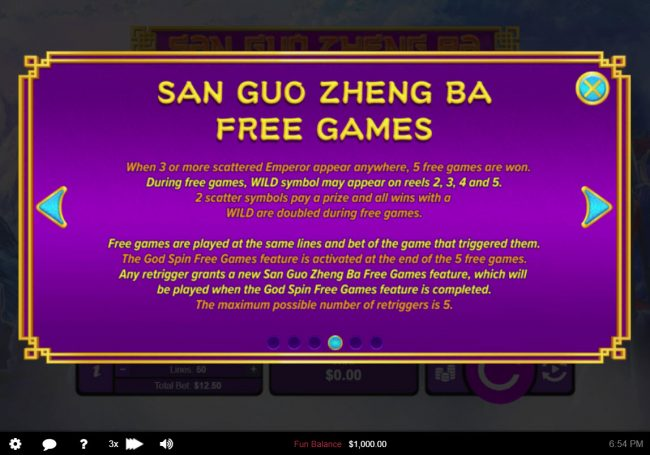 Slotsville featuring the Video Slots San Guo Zheng Ba with a maximum payout of $50,000