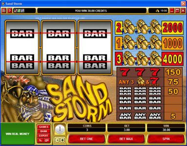 Roxy Palace featuring the Video Slots Sand Storm with a maximum payout of $60,000