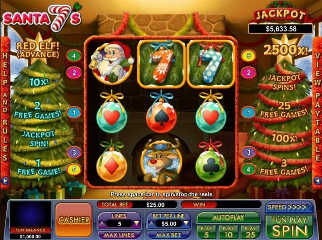 Play slots at Slot Madness: Slot Madness featuring the Video Slots Santa 7's with a maximum payout of Jackpot