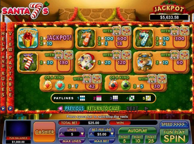 BuzzLuck featuring the Video Slots Santa 7's with a maximum payout of Jackpot