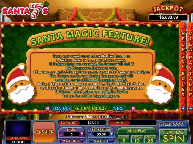 Play slots at BuzzLuck: BuzzLuck featuring the Video Slots Santa 7's with a maximum payout of Jackpot
