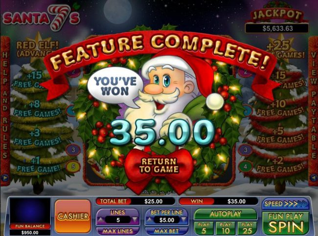 Slot Madness featuring the Video Slots Santa 7's with a maximum payout of Jackpot