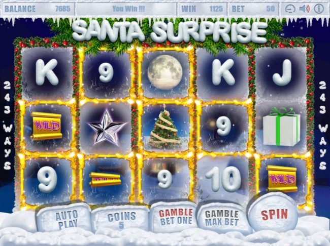 VipSpel featuring the Video Slots Santa Surprise with a maximum payout of $1,000,000