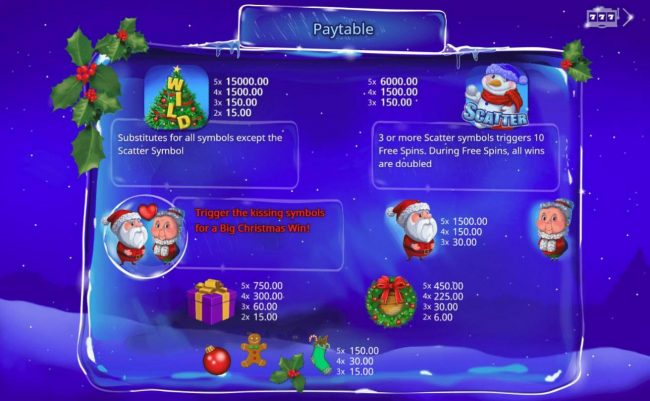 All Wins Casino featuring the Video Slots Santa's Kiss with a maximum payout of $15,000
