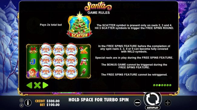 Malina featuring the Video Slots Santa with a maximum payout of $40,000