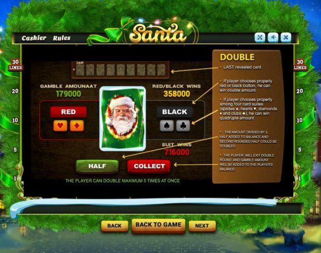 Santa :: Double Up Gamble Feature Rules