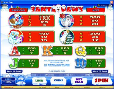 Play slots at My Win 24: My Win 24 featuring the Video Slots Santa Paws with a maximum payout of $15,000