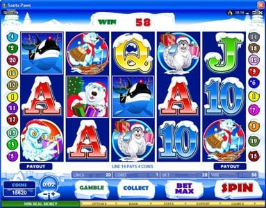 TheBesCasino featuring the Video Slots Santa Paws with a maximum payout of $15,000