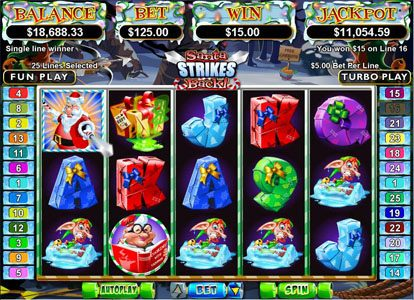 Planet 7 featuring the Video Slots Santa Strikes Back with a maximum payout of $250,000