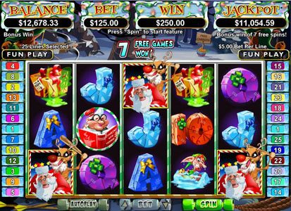 Slotsville featuring the Video Slots Santa Strikes Back with a maximum payout of $250,000