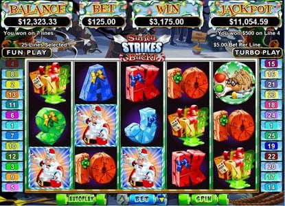 Raging Bull featuring the Video Slots Santa Strikes Back with a maximum payout of $250,000