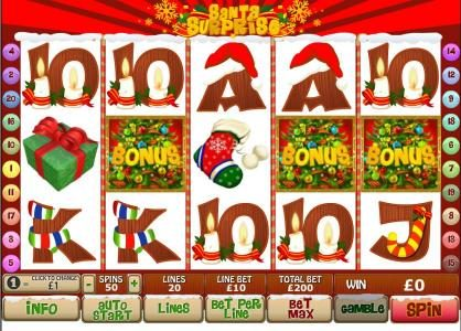 Casino Lucky Win featuring the Video Slots Santa Surprise with a maximum payout of $500,000