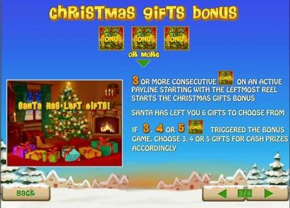 3 or more consecutive bonus symbols on an active payline triggers christmas gift bonus feature